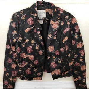 Flower leather jacket